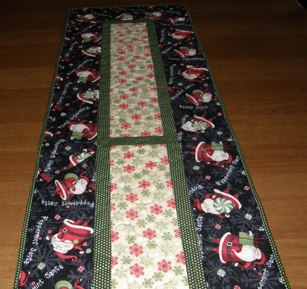 christmas quilted table runner santa red table runner. Black Bedroom Furniture Sets. Home Design Ideas