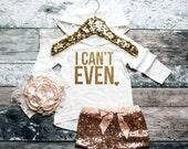 Baby Girl Hoodie Girl's Hoodie Baby Girl Clothes I Can't Even Hoodie Girls' Clothes Baby Gift White And Gold Glitter Shirt #58