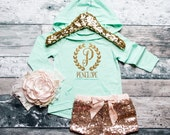 Baby Girl Clothes Monogram Hoodie Gold -PERSONALIZED- Baby Girl Clothes Baby Girl Shirt Baby Gift White And Gold #20