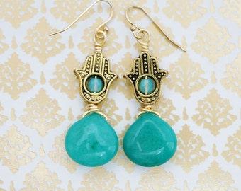Hamsa Hand Vintage Antiqued, Seafoam Rondelle & Jade Teardrop, Drop Earrings, Boho Gift For Her, Earrings