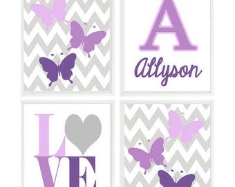 Butterfly Wall Art, Baby Girl Nursery, Girl Art, Purple, Violet, Lavender, Chevron, LOVE Print, Personalized Name Print, Toddler Girl Art
