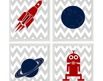 Outer Space Wall Art, Boy Nursery, Big Boy Room Art, Planet Art, Rocket, Moon, Navy Blue, Maroon, Gray, Chevron Print, Space Prints, Alien
