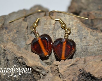 Pretty brown glass heart earrings