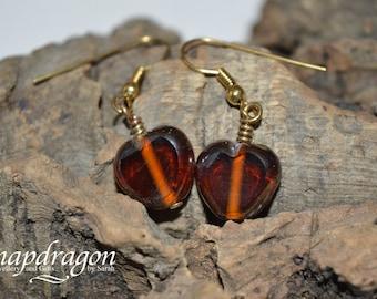 Pretty brown glass heart earrings