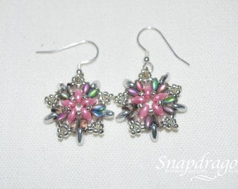 Starburst sterling silver beaded earrings