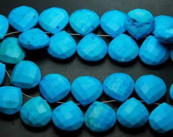 3 Matched Pair,Blue Turquoise Faceted Heart Shape Briolettes Size 14mm