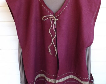 Wine of Cana 100% Linen Caftan/Vest Tunic, Long Head Band Scarf, Shawl and Shawl/Tallit Bag Holder with Matching Trim, Ribbon and Embroidery