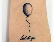 SUMMER SALE Let it go and balloon, in dark blue ink - Temporary Tattoo Set of 2