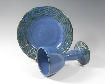 Pottery communion set - chalice and paten set - blue communion set - liturgical ware - communion ware W167