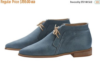 Last sizes sale Denim Blue handmade Leather Chukka Boots / nika