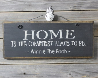 wood sign,Winnie the Pooh, Home is the comfiest place to be,  wall decor, wall hanging
