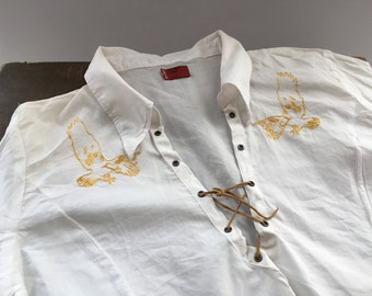 LEVIS blouse 3/4 sleeve white shirt Embroidered blouse M size blouse Vintage embroidered birds boho blouse
