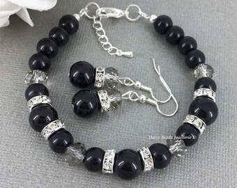Black Pearl Bracelet, Black and Rhinestones Bracelet Earrings, Bridesmaid Gift, Bridesmaids Bracelet, Wedding, Gifts