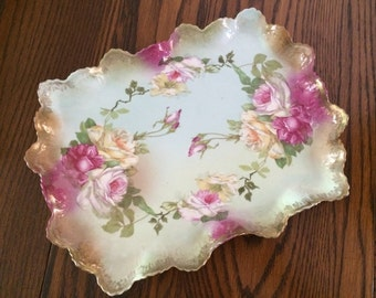 ANTIQUE PORCELAIN VANITY Tray - Hand Painted Roses