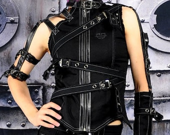 Cryoflesh Apocalypse Cyber Gothic Industrial Mad Max Burning Man Top Fem S Xxl