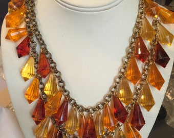 Amazing Amber-Colored Bib Necklace