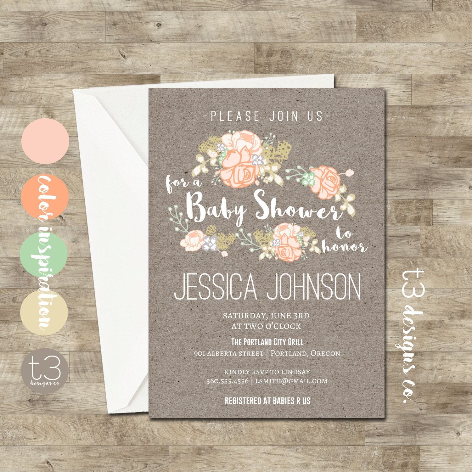 Country Baby Shower Invitation, Rustic Baby Shower Invite, Floral Burlap  Baby, Printed Invitations, Country Baby Shower Invitation, Neutral
