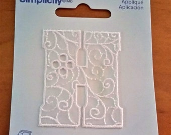 Simplicity embroidery look iron on applique letter H white