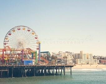 Santa Monica Pier - Photographic Print - Los Angeles, California, Bohemian, blue, boho, travel, Vintage, Decor, Hanging, ferris wheel