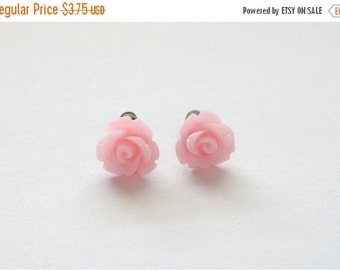 15%OFF SALE Tiny Soft Pink Rose Earrings, Under 5 Dollars, Bridesmaid Gift