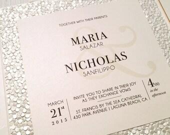 Beach Chic Wedding Invitation // Modern Invitation // Embossed // Handmade Paper