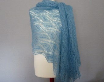 SALE 20%-Lace Shawl, Hand knitted  silk/mohair  lace shawl, Traditional Estonian pattern, blue/aqua blue color shawl