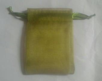 """25 4""""x6"""" Moss Green Organza bags, 4x6 inch"""