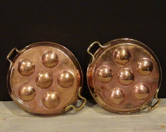 2 Vintage Copper  Escargot Pans / Brass and Copper Pans / French Kitchen Decor
