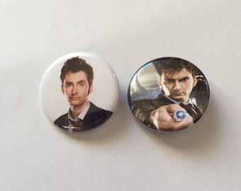 Doctor Who 10th Doctor Pin/Pinback Button Set of 2 Buttons, Doctor Who Button, Doctor Who Pin, Badges, David Tennant Pin