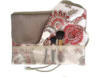 Makeup Brush Roll Coral and Taupe Floral Cosmetic Brush Organizer Travel Accessory