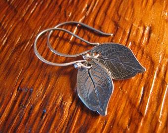 Medium Sterling Earrings Rose Leaf Handmade/Hand Forged Sterling Silver Earrings- Dangle Earrings-ToniRaeCreations