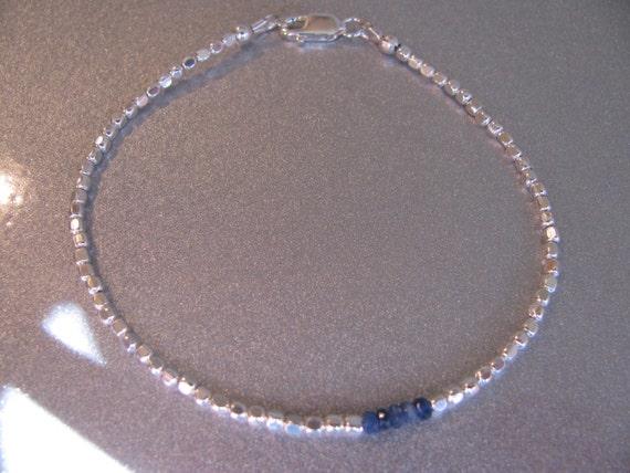 Natural Sapphire Gemstones and Sterling Silver Bracelet September Birthstone  -ToniRaeCreations