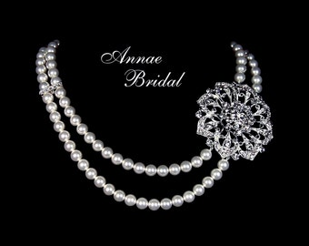 """Bridal necklace, rhinestone and pearl necklace, wedding jewelry, Swarovski pearl, """"Opulence"""" necklace"""