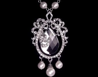 "Bridal necklace, rhinestone and pearl necklace, wedding jewelry, Swarovski pearl, ""Splendor"" necklace"