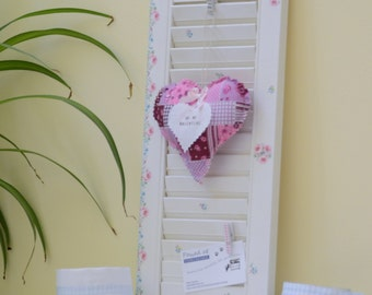 Chalk painted and decoupaged shabby chic mini shutter/pinboard/photoboard