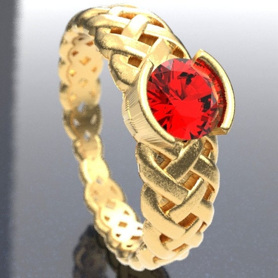 Gold Celtic Ruby Engagement Ring With Braided Cut-Through Knotwork Design in 10K 14K 18K or Palladium, Made in Your Size Cr-760