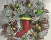 Southern Living at Home metal stocking deco mesh Christmas wreath