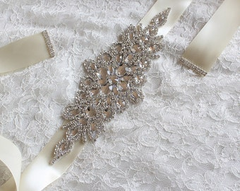 Ivory Crystal Rhinestone Bridal Wedding Sash,Bridal Crystal Rhinestone Belt,Wedding Accessories,Bridal Accessories