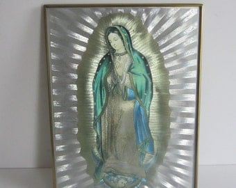 Vintage Virgin of Guadalupe Metal Wall Picture