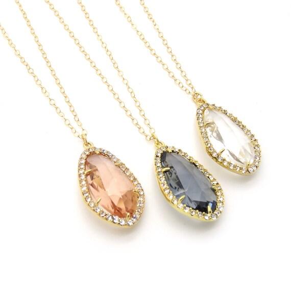 Pave Framed Glass Necklace