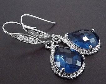 SUMMER SALE Sterling Silver Rhinestone Earrings with Sapphire Blue Glass Pendants