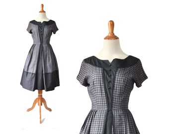 1950s dress, day dress, 50s dress, cotton dress, vintage dress, gingham dress, summer dress, black cotton dress, small dress, casual dress