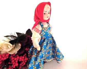 """Mockobckar Doll 11 1/2"""" Russian Girl Molded Plastic Toy Doll Moscow Russia Heritage Doll White Blond Vintage 1979s Collectible"""