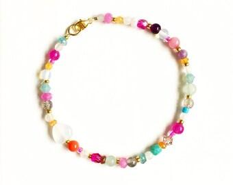 Wonderland Gemstone and Gold Bracelet //gifts for her //bridesmaids gifts //alice in wonderland //Gemstone bracelet //Multi Gemstone //Boho