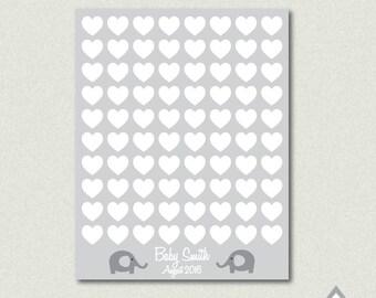 Baby Shower Fingerprint Guestbook, Elephant Baby Shower, Guestbook Poster, Signature Guestbook, Printable Guestbook, Gender Neutral, gray