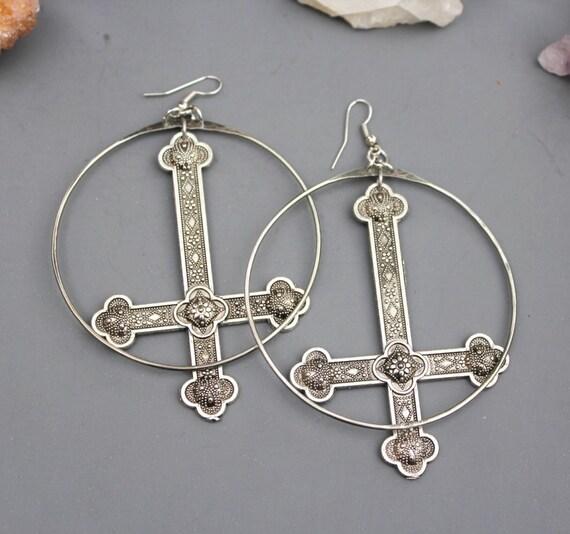 Hand Fabricated Hoop Drop Inverted Cross Earrings, Cross Earrings, Silver Hoop Handmade Earrings, Cross Charm Hoop Earrings, Large Hoop