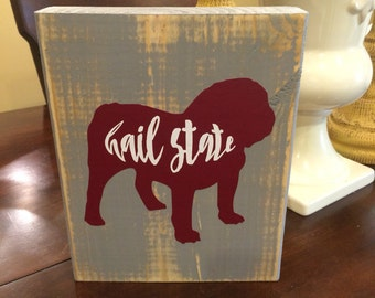Distressed chunky bulldog wood sign
