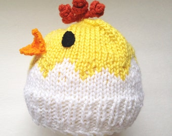 Baby Chick Hat, Knit Infant hat, Chicken and Egg Cap, Easter Hat, Photo Prop Easter, Spring novelty Beanie, Hat for Newborn, Made to Order