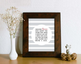 Amazing Grace Art Print - Inspirational Home Decor Art -  Typography