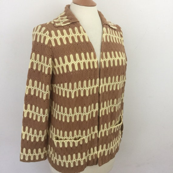Vintage knit jacket chevron knitted cardigan collar cardi Mod top cream brown scooter girl UK 12 14 zig zag boho 1940s 1920s cruise style